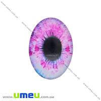 Кабошон стекл. с принтом Глаз, 18х13 мм, Розовый, Овал, 1 шт (KAB-018738)