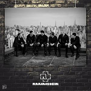 Постер Rammstein, Рамштайн, группа на крыше, Тилль Линдеманн. Размер 60x42см (A2). Глянцевая бумага