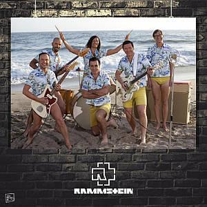 Постер Rammstein, Рамштайн, на пляже, Тилль Линдеманн. Размер 60x42см (A2). Глянцевая бумага