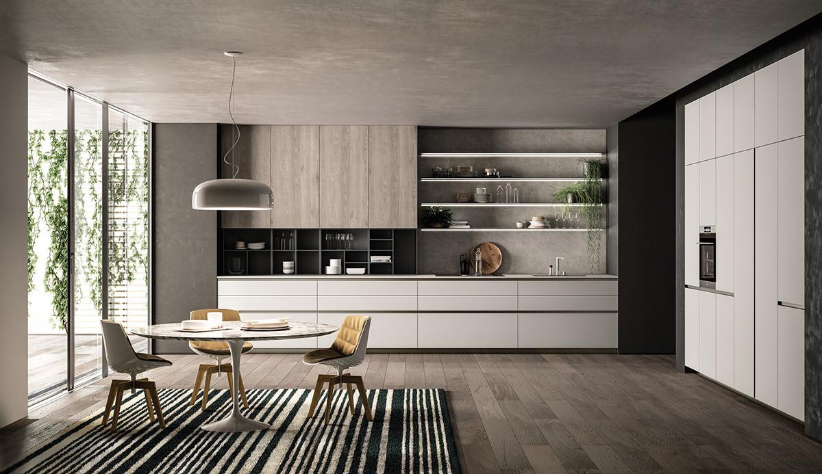 Кухня на заказ без ручек в стиле минимализма. Новинка