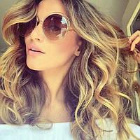 Очки солнцезащитные женские круглые большие в стиле Chloe Carlina коричневый cb6c00f9a3f
