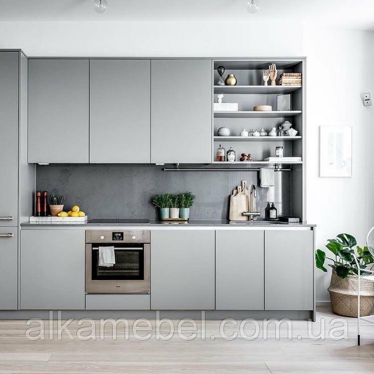 Кухня в серых тонах Лофт стиль Blum furniture