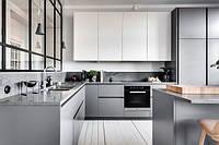 Кухня без ручек в стиле лофт серый низ белый верх, фото 1