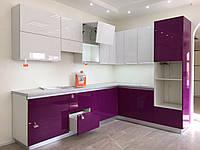 Кухня на заказ с фиолетовыми фасадами с Выставки, фото 1