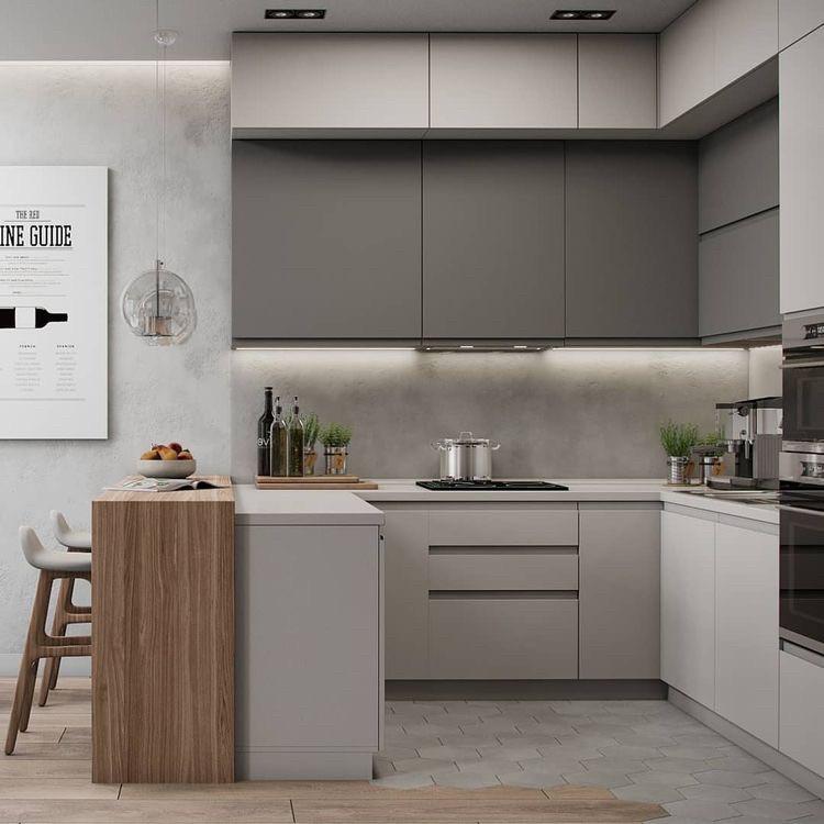 Кухня під стелю двоярусна матова в стилі мінімалізм