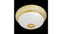 Латунный потолочный накладной светильник СО СТЕКЛЯННЫМ ПЛАФОНОМ BILBAO, светлое золото - белая патина