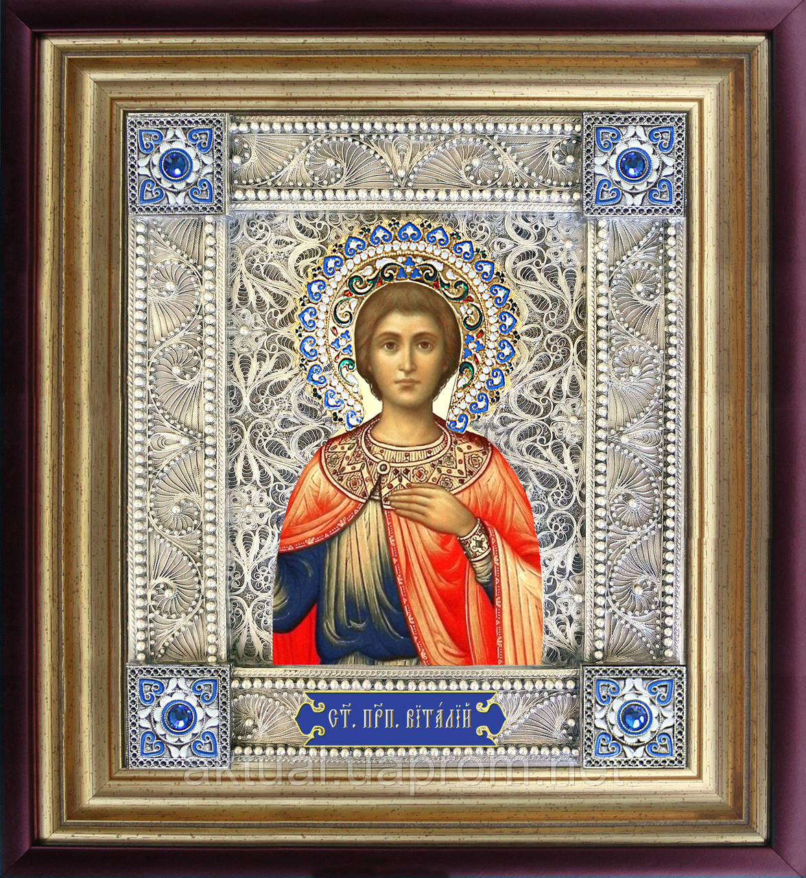 Святой мученик Виталий икона  скань