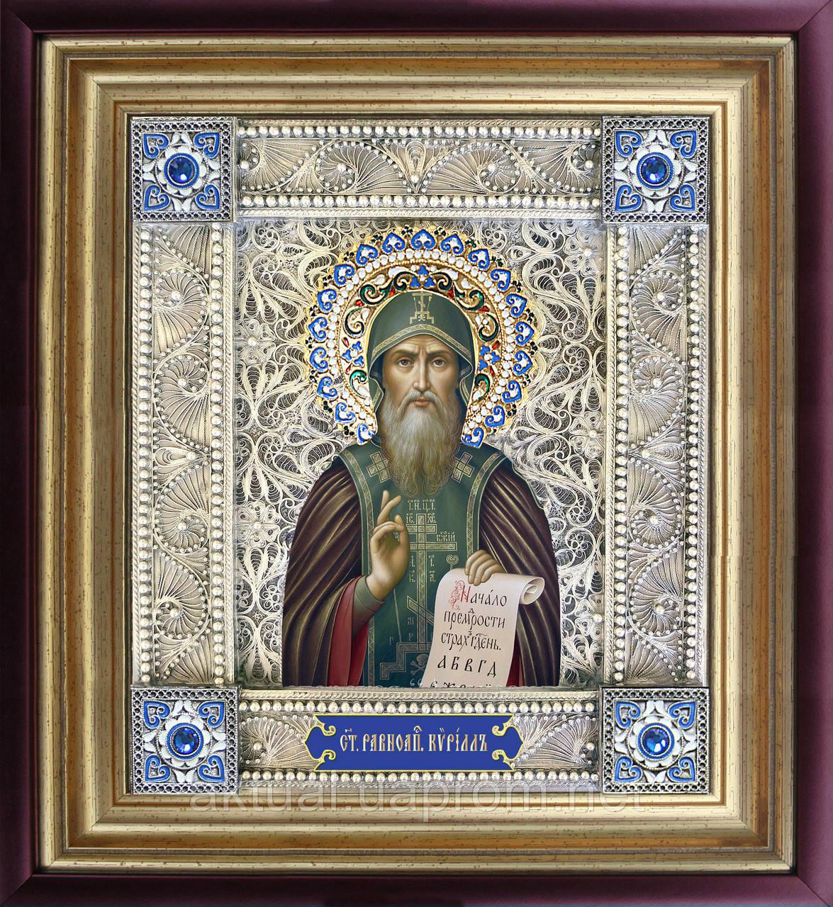 Святой Кирилл икона  скань