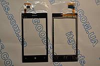 Оригинальный тачскрин / сенсор (сенсорное стекло) для Nokia Lumia 520 (черный цвет, чип Synaptics, самоклейка)