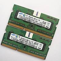 Оперативная память для ноутбука Samsung SODIMM DDR3 4Gb (2+2) 1333MHz 10600S CL9 (M471B5773DH0-CH9) Б/У, фото 1