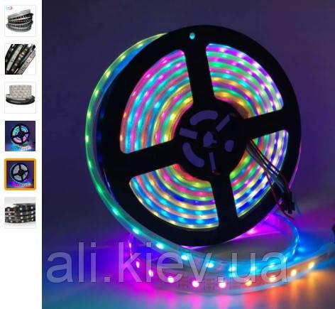 LED лента WS2812B, адресная  RGB, SMD 5050, , с управлением,5В, 30 сд/м, основа самоклейка черная
