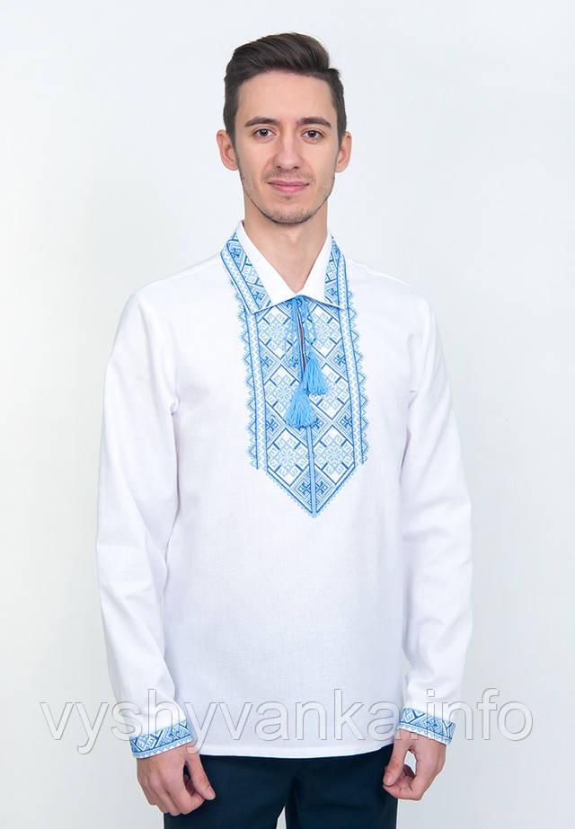 белая вышиванка мужская с рубашечным воротником