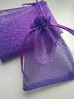 Мешочки для украшений, органза блестящая фиолетовая, 9х12 см, 1 шт. Производство Украина, фото 1