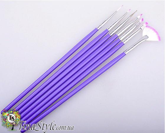 Набор кистей Для маникюра 7шт Кисти для дизайна ногтей фиолетовые комплект  Шерсть 18см.