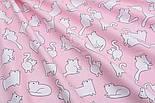 """Бавовняна тканина """"Кіт Боніфацій з носиком-сердечком"""" на рожево-пудровом №1833, фото 6"""
