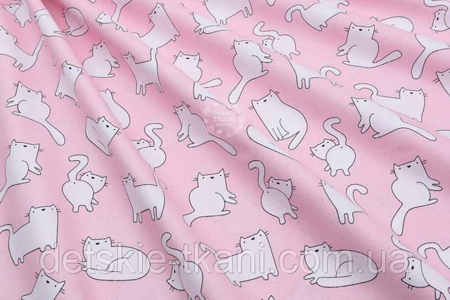 Бязь пудрового цвета с котами