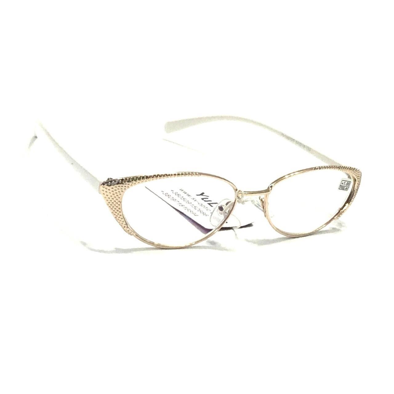 Женские очки в металлической оправе с бликовой линзой