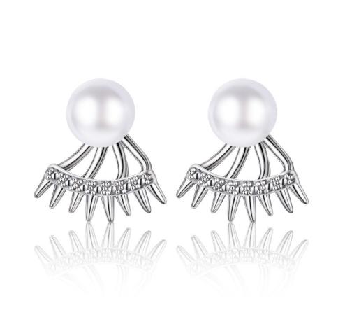 Серебряные серьги 925 пробы, серьги из стерлингового серебра, серьги с жемчугом, женские серьги код (0113)