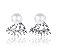 Серебряные серьги 925 пробы, серьги из стерлингового серебра, серьги с жемчугом, женские серьги код (0113), фото 1