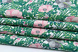 """Ткань хлопковая """"Анемоны розовые и серые с зелёными ветками"""" на белом (№1837), фото 4"""