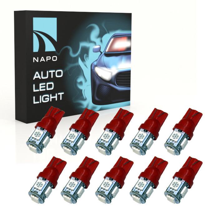 Автолампа диодная T10-5050-5smd, комплект 10 шт, W5W, 194, 168, цвет свечения красный