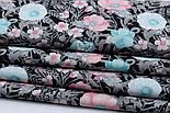 """Ткань хлопковая """"Анемоны розовые и бирюзовые с серыми ветками"""" на чёрном (№1838), фото 6"""