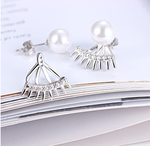 Серебряные серьги 925 пробы, серьги из стерлингового серебра, серьги с жемчугом, женские серьги
