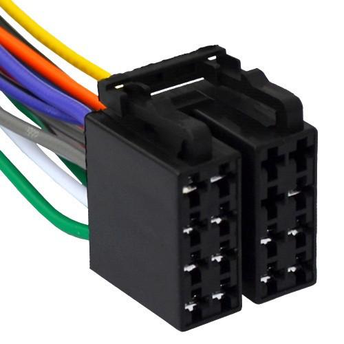 Разъём автомагнитолы ISO (гнездо) сдвоенный, с кабелем 0,2 метра (медный)