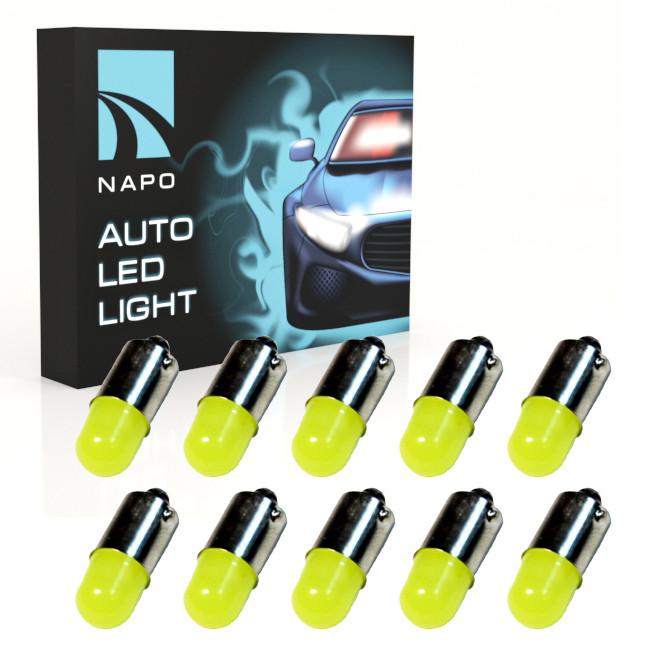 Автолампа диодная BA9S-3D, комплект 10 шт, T4W, 1155, цвет свечения белый
