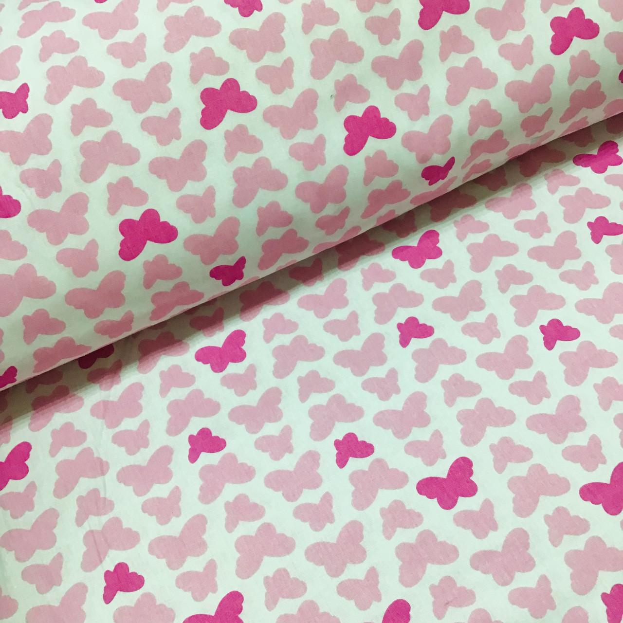 Ткань польская хлопковая, бабочки розовые на белом