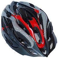 Велосипедный шлем универсальный со съемным козырьком SmartWorld FT-18-1 56-62 см Черный с красным, КОД: 212422