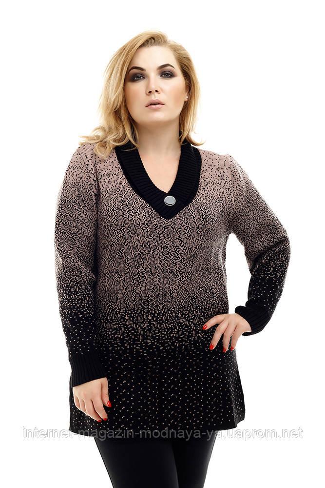 Удлиненный вязаный свитер большого размера Снег р. 54-58 кофе с молоком
