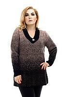Удлиненный вязаный свитер большого размера Снег р. 54-58 кофе с молоком, фото 1