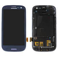 Дисплейный модуль (экран и сенсор) для Samsung S3 i9300, i9300i, i9301, i9305, i747, R530, с рамкой, синий