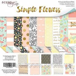 Набор двусторонней бумаги 20х20см от Scrapmir Simple Flowers 10шт