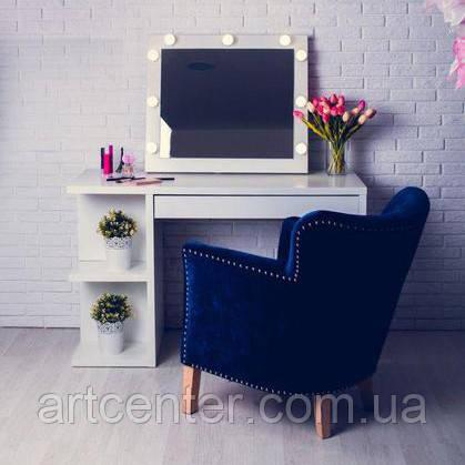 Стол для визажиста, туалетный стол с зеркалом и полками