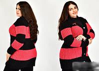 Кардиган жіночий в смужку з брошкою з 50-54 розмір, фото 1