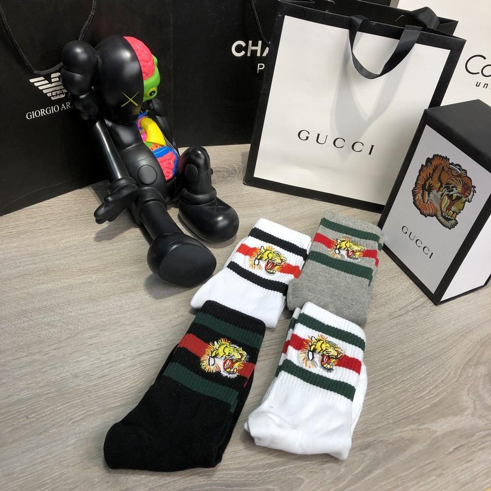 Мужские носки Gucci Pack 4 Tiger Grey/White/White/Black, Реплика