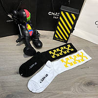 Мужские носки Off White Pack 2 Black-Yellow/White-Yellow, Реплика
