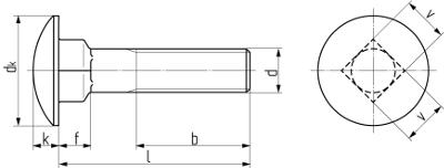 Описание: Болт мебельный с полукруглой головкой и квадратным подголовником DIN 603. Чертёж