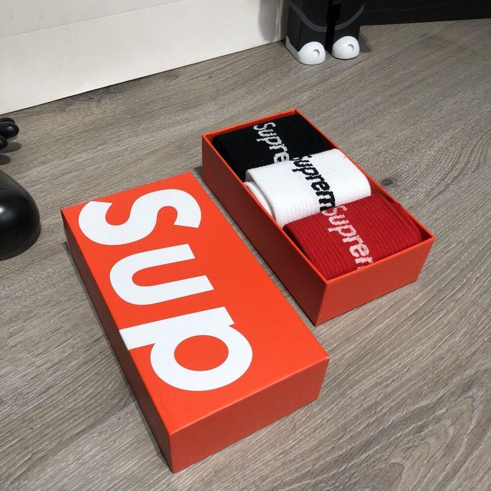 Мужские носки Supreme Pack 3 Black/White/Red Реплика