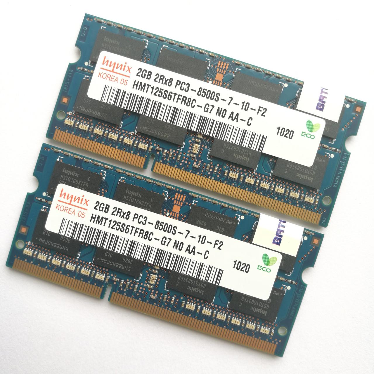 Пара оперативной памяти для ноутбука Hynix SODIMM DDR3 4Gb (2+2) 1066MHz 8500 (HMT125S6TFR8C-G7 NO AA-C) Б/У