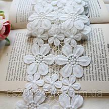 Кружево цветы на нитке.Свадебное белое кружево, фото 3