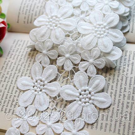 Кружево цветы на нитке.Свадебное белое кружево, фото 2