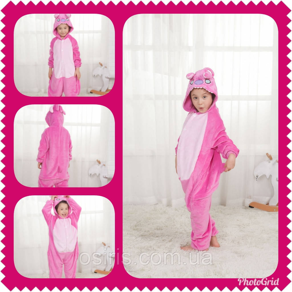 Пижама Кигуруми детское Стич розовый (на рост 100-110 см) - Интернет- 8baec430f1af7