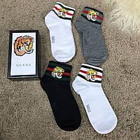 Мужские носки Gucci Pack 4 Tiger Grey/White/White/Black, Реплика, фото 1