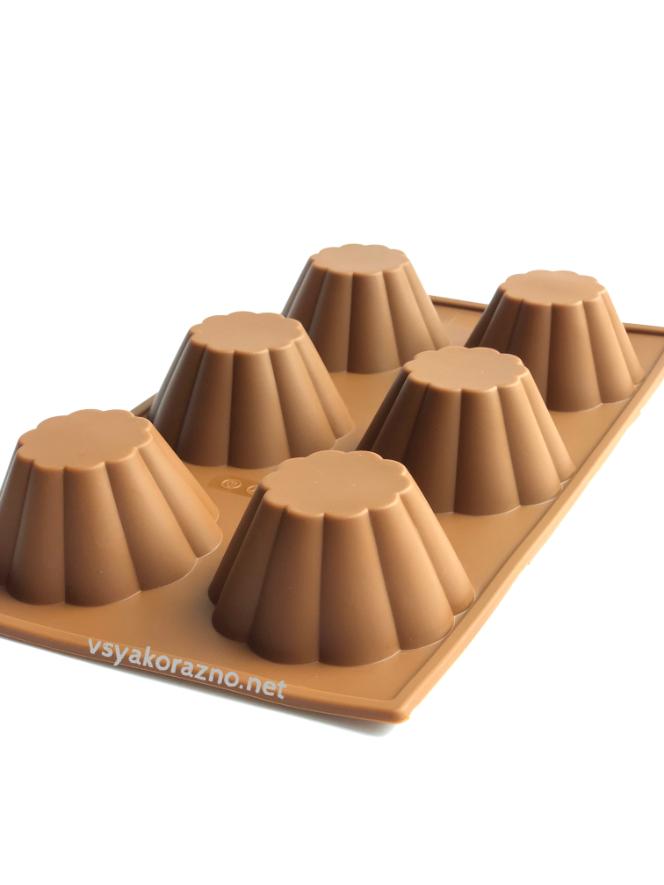 Силиконовая форма для выпечки в духовке (Кекс) коричневая