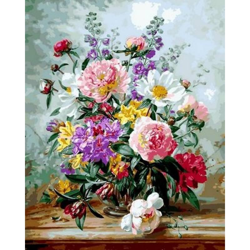 Картина по номерам Пионы и смешанные цветы, 40x50 см., Babylon