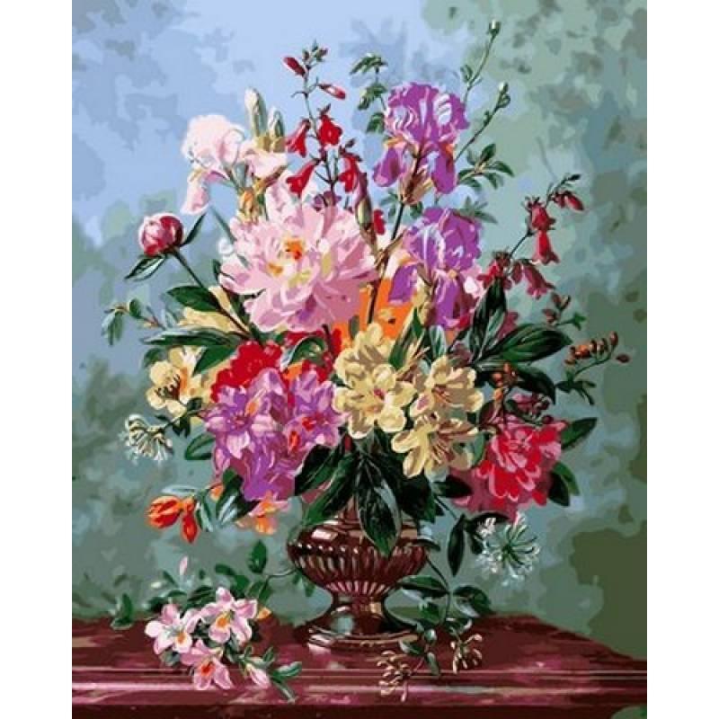 Картина по номерам Цветочный букет в вазе на мраморном столе, 40x50 см., Babylon