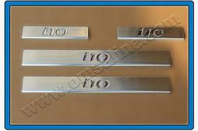 Накладки на пороги OmsaLine (4 шт, нерж.) Hyundai I-10 2008-2013 гг.